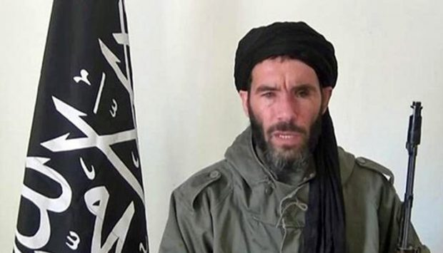 An undated grab from a video obtained by ANI Mauritanian news agency reportedly shows former Al-Qaeda in the Islamic Maghreb (AQIM) emir Mokhtar Belmokhtar speaking at an undisclosed location. /AFP/Getty Images