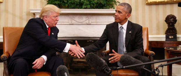 Obama and Trump shake hands at White House