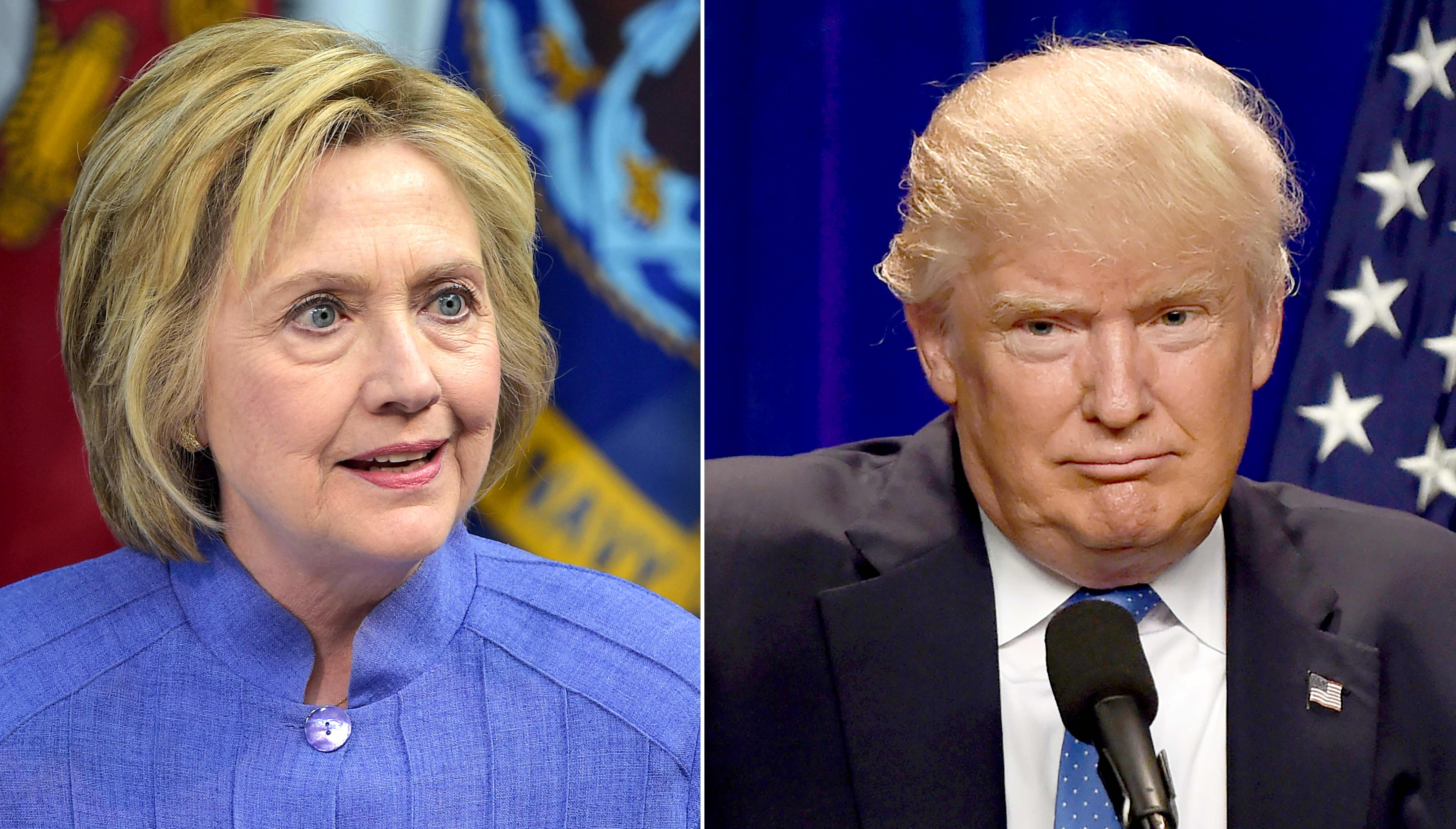 """(FILES) This combination of file photos shows Democratic presidential candidate Hillary Clinton(L)on June 15, 2016 and presumptive Republican presidential nominee Donald Trump on June 13, 2016.  Hillary Clinton on July 31, 2016 sharply criticized Donald Trump over his """"absolute allegiance"""" to Russian policy aims, saying it raised both """"national security issues"""" and new doubts about his temperament. / AFP PHOTO / dskDSK/AFP/Getty Images"""