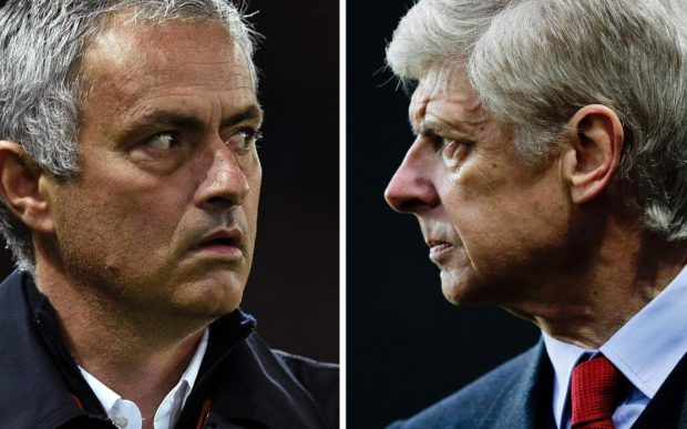 Arsene Wenger (right) wants his bitter rival to send out an exciting team on Saturday CREDIT: GETTY IMAGES