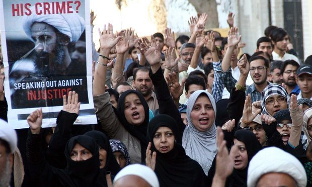 Protesters in Karachi demonstrate against the execution in January of Shia cleric Nimr Baqir al-Nimr. Photograph: Anadolu Agency/Getty Images