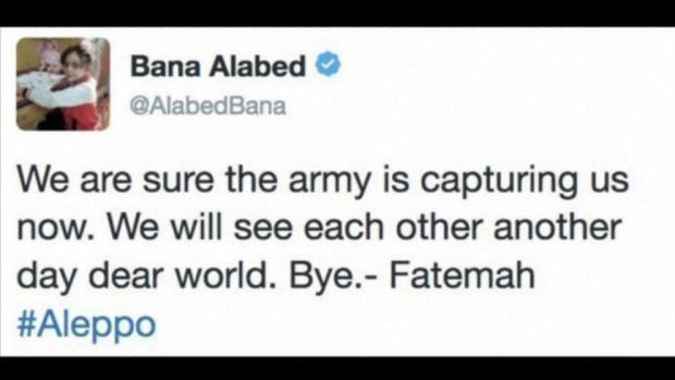 Bana's last tweet before her account was deleted