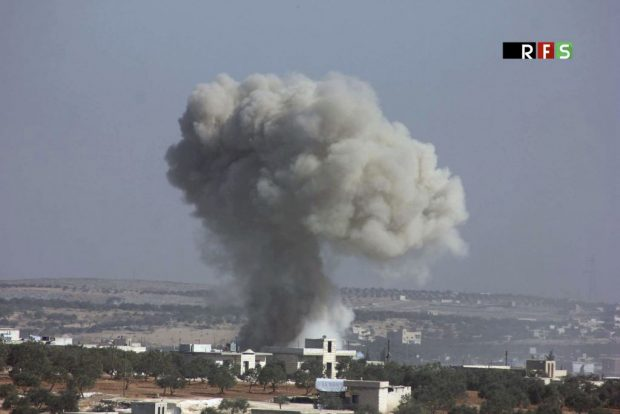Illustrative photo of an airstrike that killed over 20 people in Idlib province, Syria, Wednesday, October 26, 2016. (Revolutionary Forces of Syria, via AP)