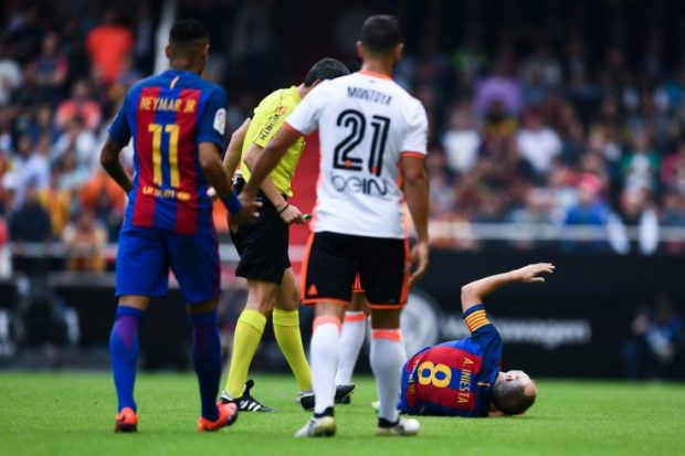 Andres Iniesta is yet to play since the 3-2 victory over Valencia. /Getty